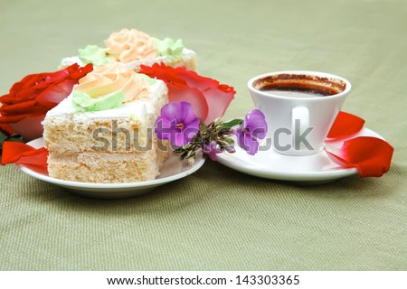 good morning : cake with whipped cream served with black coffee cup