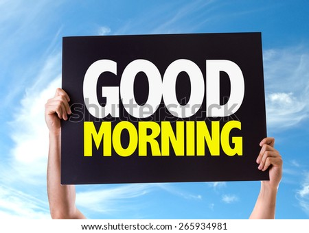 Good Morning card with sky background