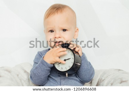 Free Photos Cute Baby Girl And Alarm Clock Wake Up In The Morning