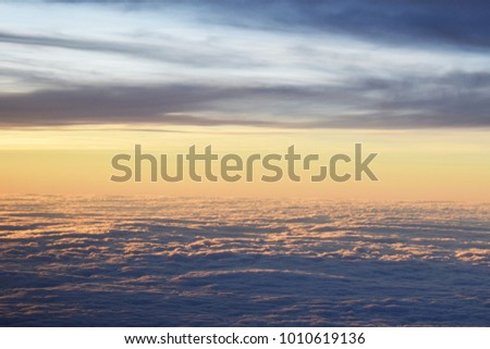 Good Morning from the Airplane View with a Blue Sky and White Clouds  Above the World #1010619136
