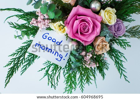 Free Photos Coffee Mug With White Flowers And Notes Good Morning On