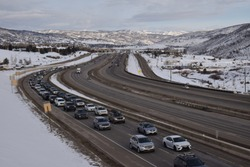 Good morning on the Lincoln Highway in winter season in Kimball Junction, Park City, Utah, USA.