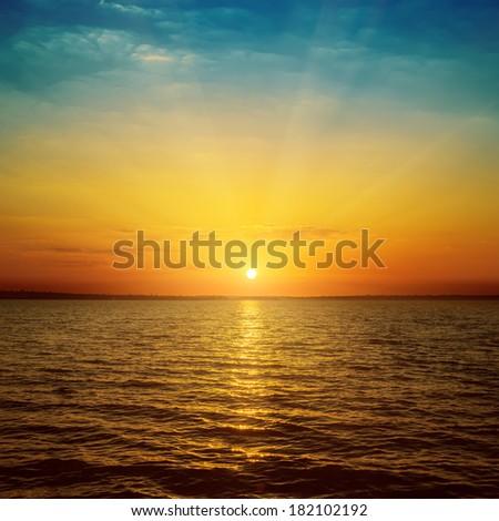 good orange sunset over sea