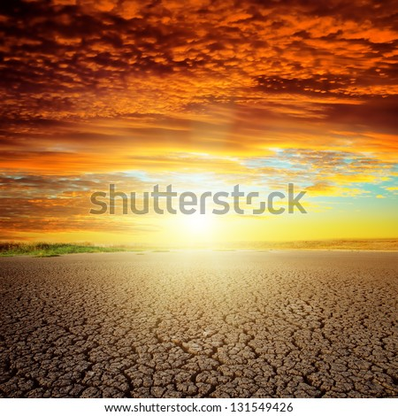 good red sunset over drought eart #131549426