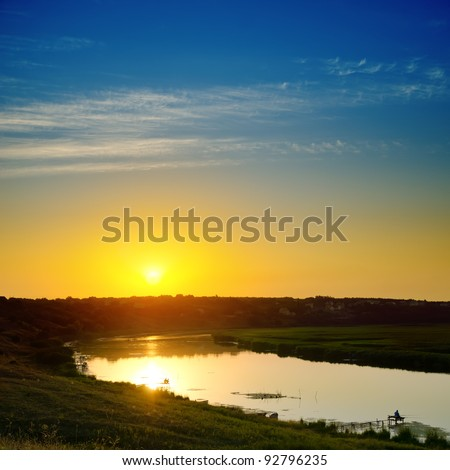 good sunset over river