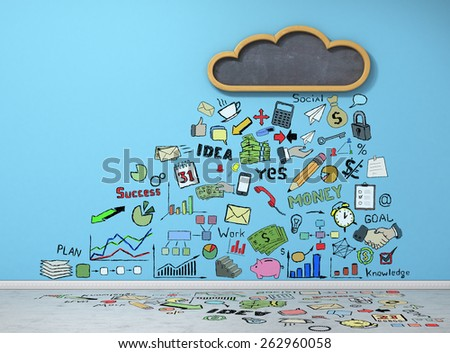 Good weather for businesses. Cloud in the form of a school board on a blue wall with business figures. Business concept.