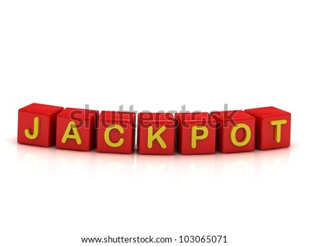 good win the jackpot in the red cubes on a white background