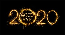 Goodbye outgoing 2020 year. Beautiful creative holiday web banner or flyer with Golden sparkling text Goodbye in number 2020 on black background. Object for design