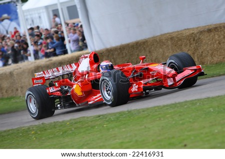 GOODWOOD FESTIVAL OF SPEED - JULY 12 2008: Ferrari test driver Luca Badoer participating in the hill climb time trials at the Goodwood Festival of Speed July 12 2008
