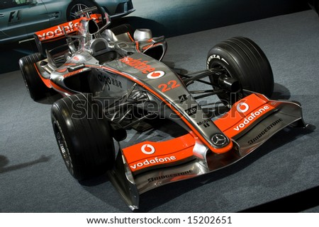 Goodwood UK, July 11, 2008: Lewis Hamilton's McLaren MP4-21 f1 racing car at Goodwood Festival of Speed. - stock photo
