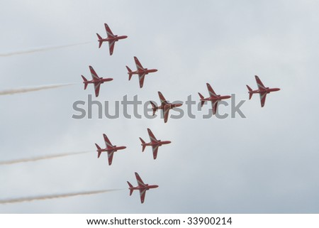 GOODWOOD, UK July 12: red arrows flying concord formation air display at Goodwood Festival of Speed on july, 12 2009 in Goodwood England