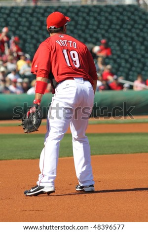 GOODYEAR, AZ - MARCH 5: First baseman Joey Votto, the Cincinnati Reds' best hitter, awaits first pitch in the Reds' inaugural Cactus League game March 5, 2010 at Goodyear Ballpark, Goodyear, Arizona.