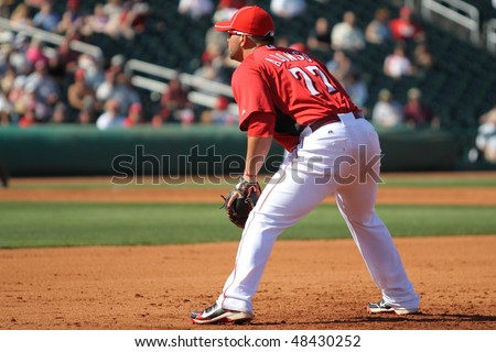 GOODYEAR, AZ - MARCH 5: Highly touted rookie Yonder Alonso plays first base in the Cincinnati Reds' inaugural Cactus League game March 5, 2010 at Goodyear Ballpark in Goodyear, Arizona.