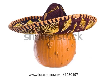 Goose Bump Pumpkin Wearing a Sombrero Isolated on White - stock photo