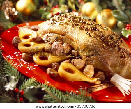 Goose with spices,chestnuts and pears
