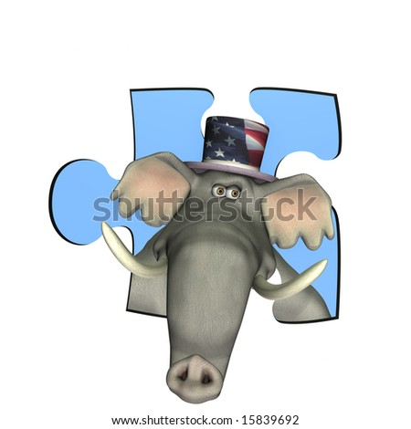 GOP Elephant looking out of a puzzle piece window. Represented by a Republican Political Elephant
