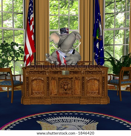 GOP Speech from the Oval Office Represented by a Republican Political Elephant