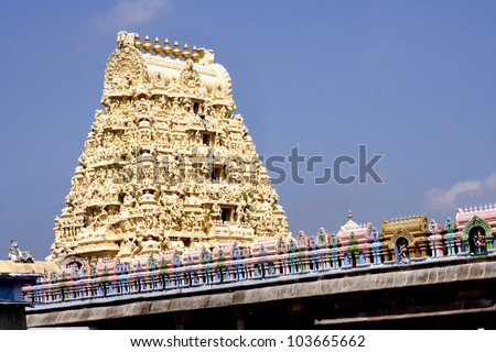 Gopuram of Ekambareswarar. Kanchipuram, Tamil Nadu, India