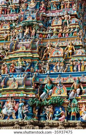 Gopuram (tower) of Hindu temple  Kapaleeshwarar. Chennai, Tamil Nadu, India