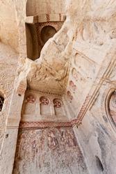 Goreme church remains with historic vandalism in Cappadocia Turkey