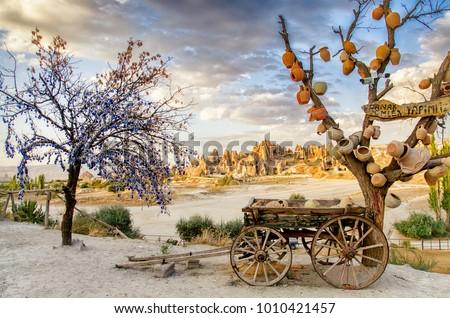 Goreme, Turkey - September 23, 2015: Tree Of Wishes with clay pots in Cappadocia. Nevsehir Province, Cappadocia, Turkey