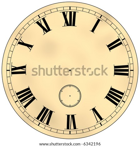 Gorgeous antique clock face isolated on white