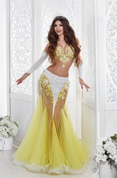 Gorgeous Arabian woman with luxury golden jewelry and shining dress. Beautiful turkish bellydancer wear traditional belly dance costume interior portrait. Arabian beauty  girl with tiara.