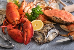 gorgeous assorted seafood image for background