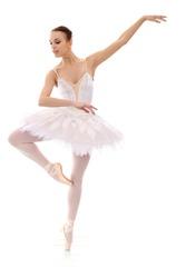 Gorgeous ballerina in action white background
