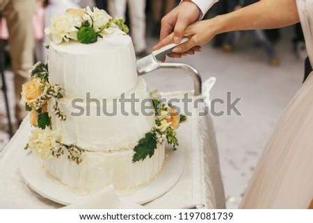 Gorgeous bride and stylish groom cutting together white wedding cake with roses at wedding reception. Happy wedding couple tasting cake. Romantic moments of newlyweds #1197081739