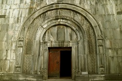 Gorgeous Doorway of the Book Depository in Haghpat Medieval Monastery, Town of Hagphat, Lori Province, Historical Place in Armenia