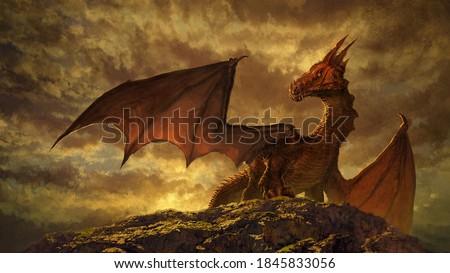 Gorgeous fantasy red dragon art - digital illustration Foto stock ©