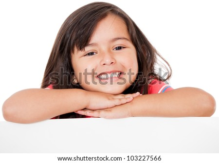 Gorgeous girl leaning on a banner - isolated over a white background