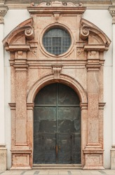 Gorgeous gothic castle rounded door window entrance.