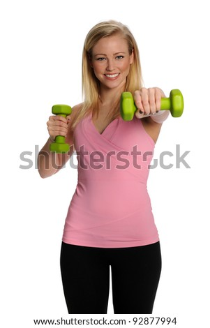 Gorgeous healthy blonde lifting weights