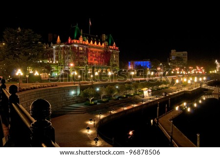 Gorgeous hotel in downtown of Victoria, British Columbia at night.