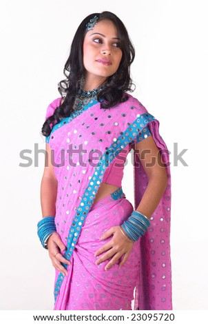 Gorgeous Indian lady with pink costume