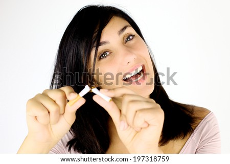 Gorgeous lady happy about stop smoking