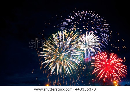 Gorgeous multi-colored fireworks display on dark background, with copyspace #443355373