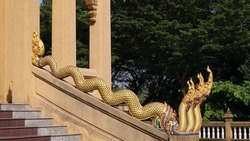 Gorgeous naga stairs at Buddhist temple