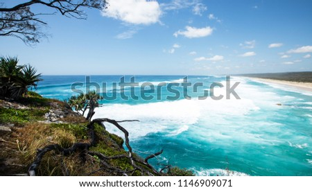 Gorgeous Ocean View at Point Lookout looking towards main beach during a king tide in Summer.  North Stradbroke Island, Queensland, 2018 stock photo
