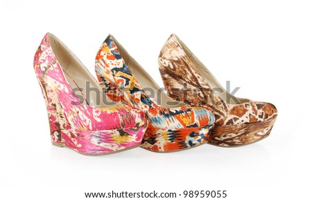 gorgeous pattern wedge shoes collection on white background