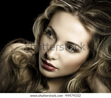 Gorgeous portrait of a young beautiful blonde woman