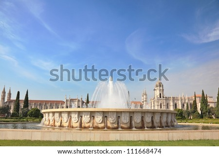 Gorgeous Portugal. Embankment of the River Tagus in Lisbon. A beautiful fountain and amonastery of St. Jerome