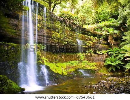 Gorgeous Russel Falls splash down in the Mt Field National Park, Tasmania, Australia.