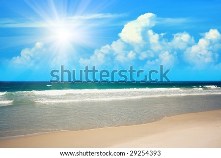 Gorgeous sandy tropical beach in sunny day