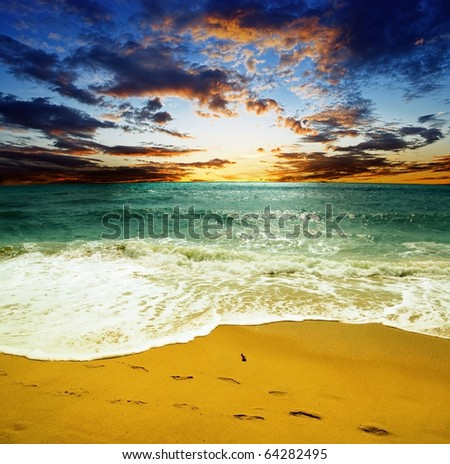Gorgeous sea at the sunset. - stock photo