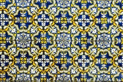 Gorgeous seamless pattern from dark blue yellow and white Moroccan, Portuguese tiles, ornaments. Can be used for wallpaper, pattern fills, web page background,surface textures.