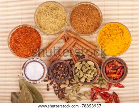 gorgeous setting with cooking spices and herbs (bay leaves, chili powder, coriander, cloves, cardamom pods, cinnamon sticks, garam masala, piri piri, salt, turmeric) on a wooden mat