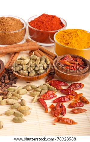 gorgeous setting with cooking spices and herbs (cloves, cardamom pods, cinnamon sticks, garam masala, paprika, piri piri, turmeric) on a wooden mat (isolated on white background)